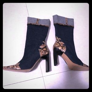 Shoes - STEVE blue jean & snakeskin heeled boots 6.5 New